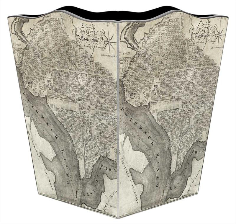 Antique DC Map Wastebasket - GDH | The decorators department Store