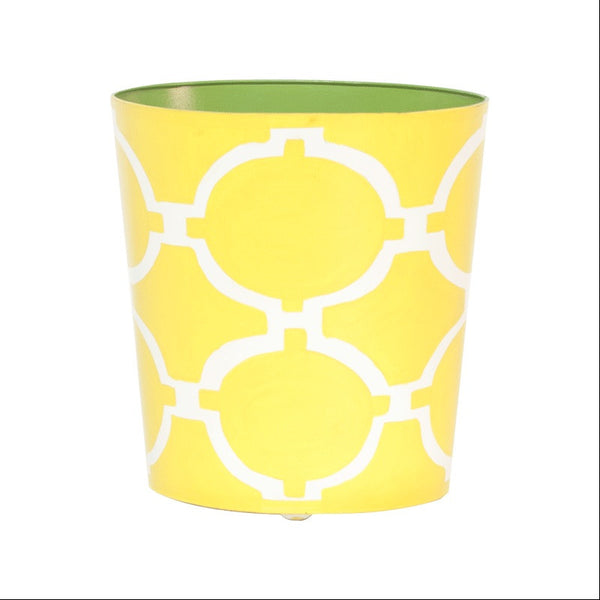 Acadia Yellow and Cream Oval Wastebasket - GDH | The decorators department Store