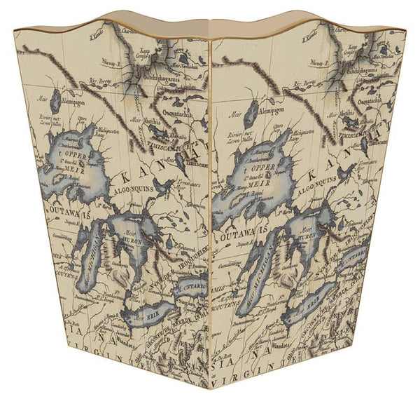 Antique Great Lakes Map Wastepaper Basket
