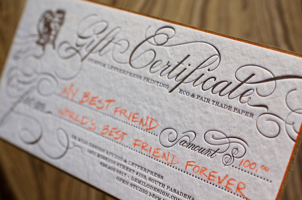 Business Card Gift Certificate
