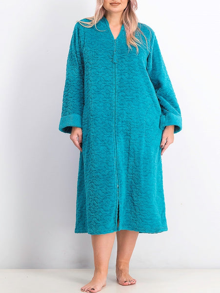 Miss Elaine Plus Size Jacquard Cuddle Fleece Long Zipper Robe 866579X Teal 1X 2X 3X