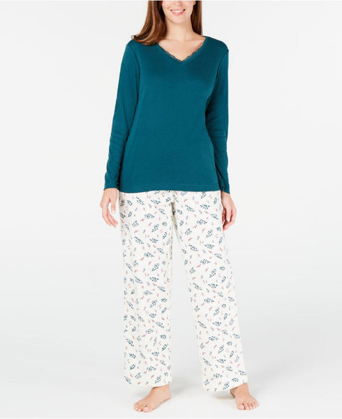 Charter Club Lace-Trim Top & Printed Pajama Pants Set 100069438 Holiday Leaf