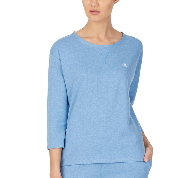 Lauren Ralph Lauren Knit Herringbone Pajama Top LN61745 Blue Large