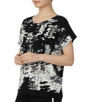 Donna Karen Women's Printed Short Sleeve Sleep Shirt D34695 White Multi Large - Red Tag Central