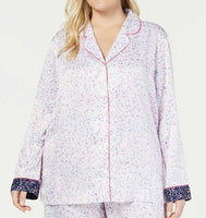 Charter Club Women's Notch-Collar Pajama Top 100037258 Mini Floral 2X - Red Tag Central