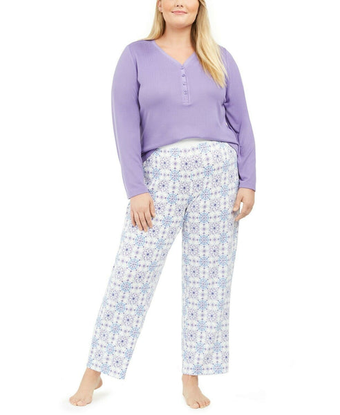 Charter Club Plus Size Super Soft Knit Henley Top & Printed Pants Pajama Set 100069380W Taverna Tile