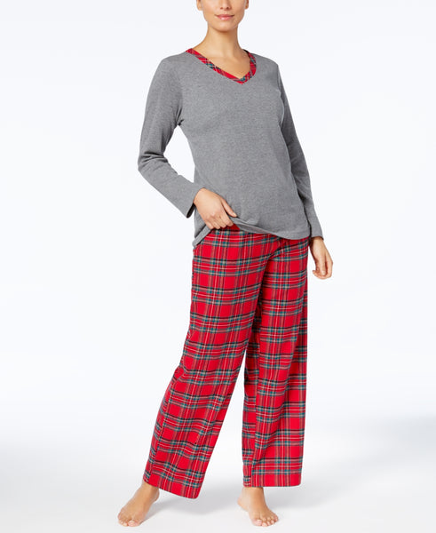 Charter Club Plaid Mix It Pajamas Set 100069433 Grey Brinkley Plaid LG XXL