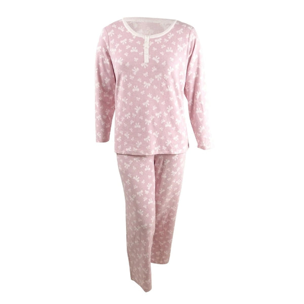 Charter Club Thermal Fleece Printed Pajama Set 100069359 Pink Bows XL