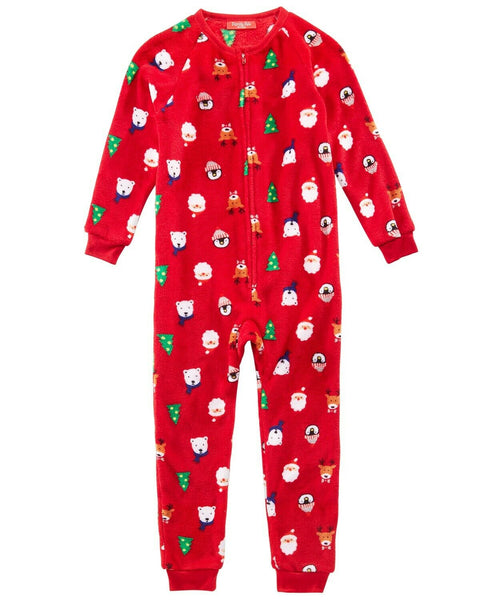 Family Pajamas Macy's Kids Santa & Friends Hooded Pajamas 100069526 Red 2T-3T 8yr - Red Tag Central