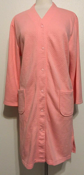 Miss Elaine Quilted Knit Snap Closure Short Grip Robe 852848 Coral XL - Red Tag Central