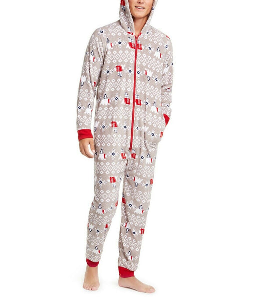 Family Pajamas Macy's Men's Polar Bear Hooded Pajamas 100072458 Grey M XL - Red Tag Central
