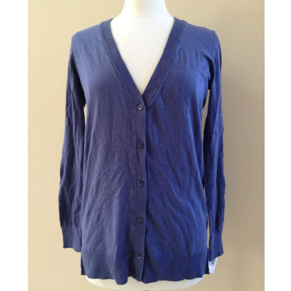 Alfani Long Sleeve Button Down Front Cotton Cardigan 214111 British Blue XS S - Red Tag Central