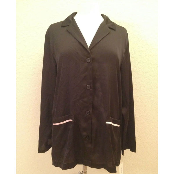 Alfani L/S Button Down Front Pajama Sleep Top 220114 Classic Black Small - Seasonal Overstock