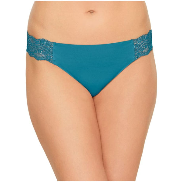 b.tempt'd by Wacoal B. Bare Thong Panty 976267 Deep Lagoon Wild Aster S XL - Red Tag Central