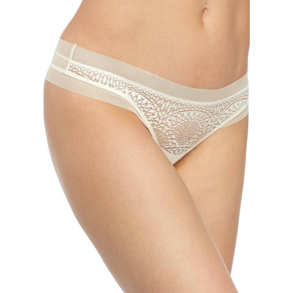 Calvin Klein CK Black Endless Sheer Lace Thong Panty QF1787 Ivory S M L - Red Tag Central