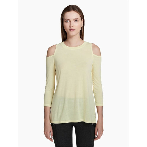 Calvin Klein Performance Cold-Shoulder Tie-Back Top PF8T2828 Grey Citrus Yellow - Red Tag Central