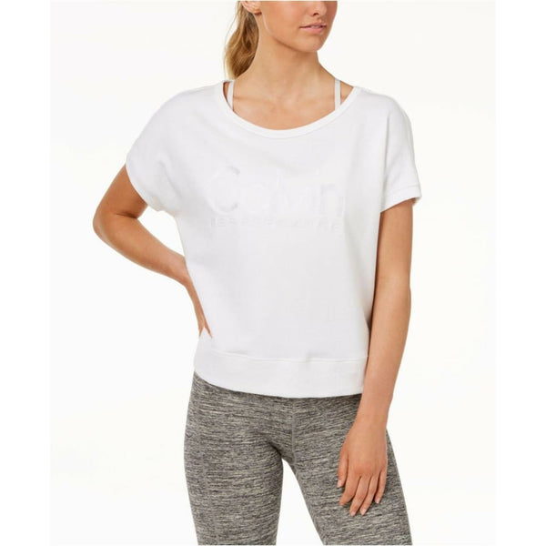 Calvin Klein Performance Open-Back Cropped Logo T-Shirt PF8T5205 White Large XL - Red Tag Central