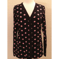 Charter Club Button Down Front Cardigan Pajama Top 13118 Black Rose Print XS S M - Red Tag Central