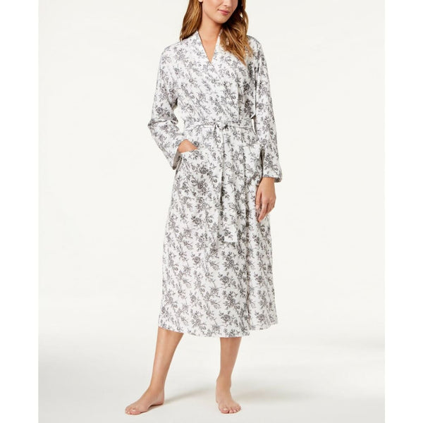 Charter Club Cotton Rose-Print Wrap Robe 100019729 Rose Toile XS - Sleepwear & Robes