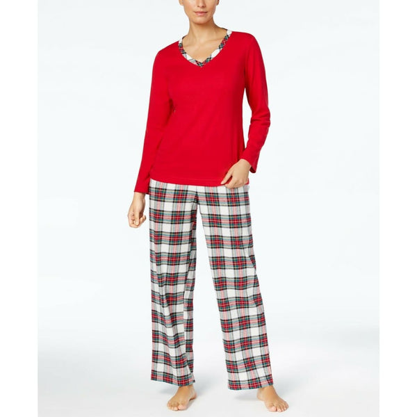 Charter Club Flannel Mix It Top Printed Pants Pajama Set 171112 Stewart Plaid Small - Red Tag Central