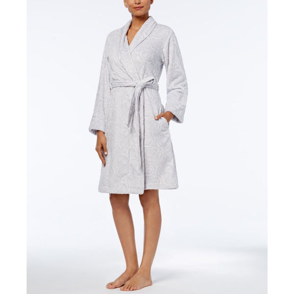 Charter Club Short Textured Robe 171173 Rose Winter Ivory Medium Large XL XXL XXXL - Red Tag Central