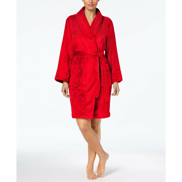 Charter Club Supersoft Short Solid Robe 171170 Candy Red Small XL XXL - Red Tag Central
