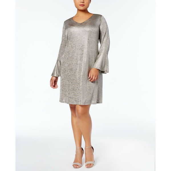 Connected Apparel Plus Size Metallic Bell-Sleeve Dress TPP80880M Silver Size 18 - Red Tag Central