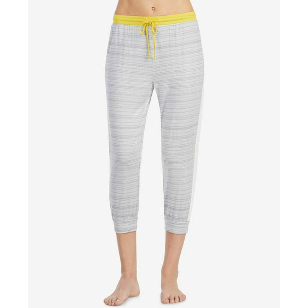DKNY Contrast-Band Cropped Pajama Pants Y2819335 Grey Print Small Medium - Red Tag Central