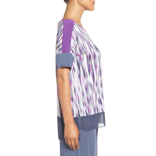 DKNY Stretch Modal Lounge Tee Pajama Top Y2413434 Abstract Stripe Large - Red Tag Central