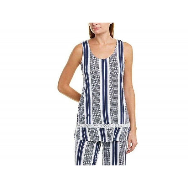 Ellen Tracy Sleeveless Pajama Top N8921395 White Blue Medium - Red Tag Central