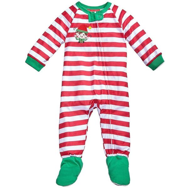 Family Pajamas Macys Baby Toddler 1-Pc Footed Pajama B17104152 CandyCane Stripe 18M 24M - 18 Months / Candy Cane Stripe - Seasonal Overstock