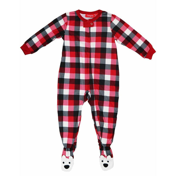 Family Pajamas Macy's Baby Toddler 1-Pc Footed Pajama B17104652 Buffalo Check - Red Tag Central
