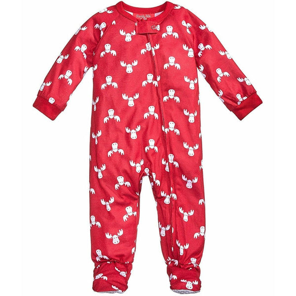 Family Pajamas Macy's Baby Toddler 1-Pc Footed Pajama B17104752 Moose Print Red 18 Months - Red Tag Central