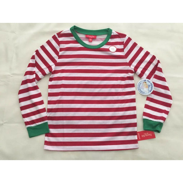 Family Pajamas Macy's Kid's Holiday Stripe Pajama Top K100030908 Red Sz 10-12 - Red Tag Central