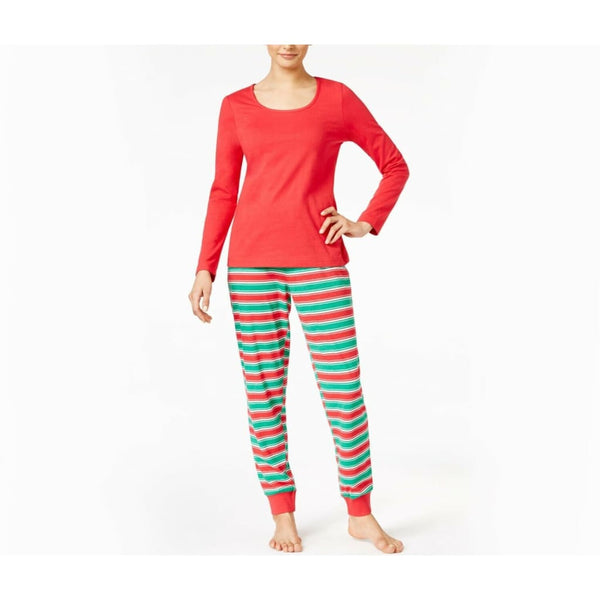 Family Pajamas Macy's Women's L/S Pajama Set F17104052 Holiday Stripe Large - Red Tag Central