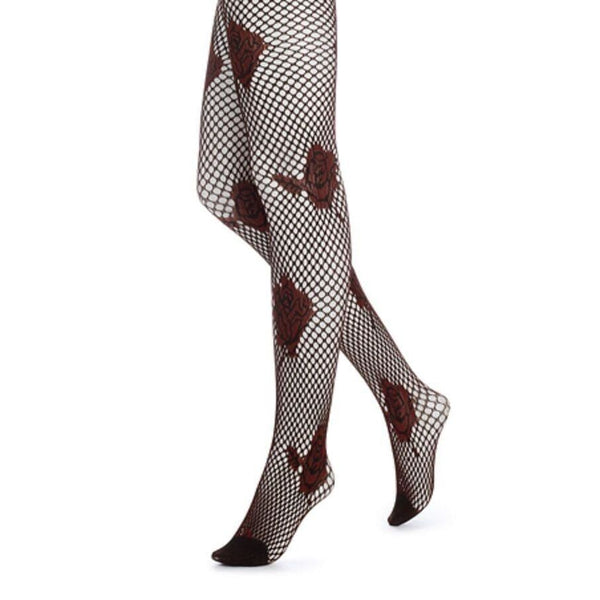 HUE Floral Net Tights U13023 Brick or Steel S/M M/L - Red Tag Central