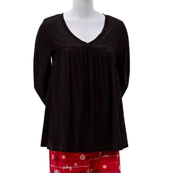 HUE Long Sleeve Modal Blend Solid V-Neck Swing Tee Sleep Top PJ31124 Small Medium - Red Tag Central