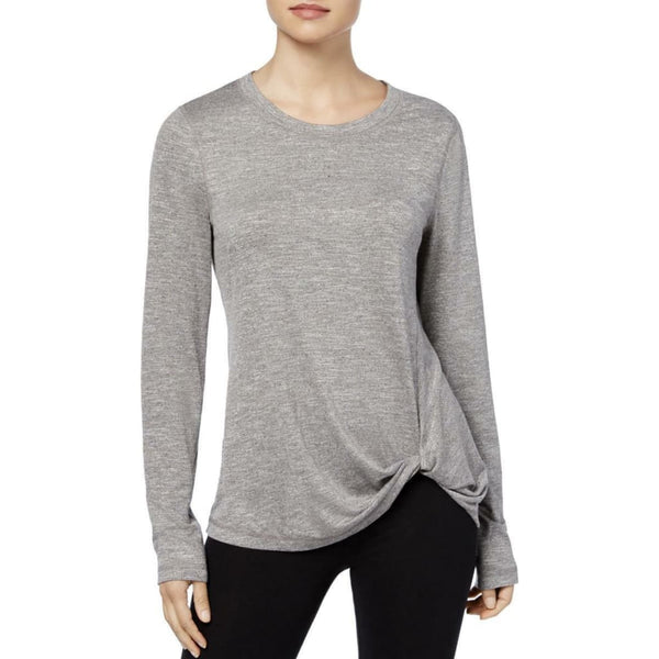 Ideology Women's Knotted Long-Sleeve Top 78067 Charcoal Mauve Blue XS XL - Red Tag Central