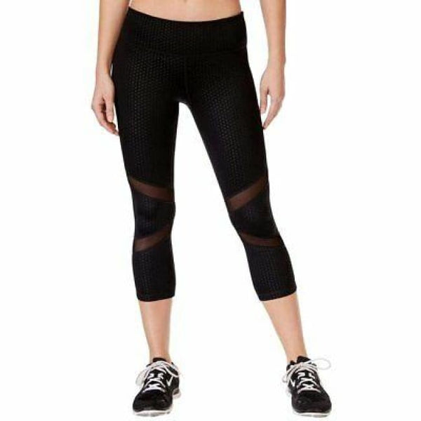 Ideology Women's Mesh-Trimmed Cropped Leggings 77823 Noir Small - Red Tag Central