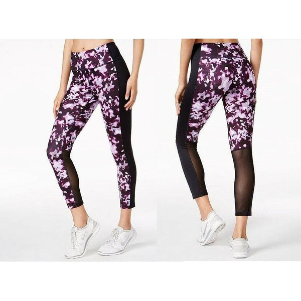 b3bed0684 ... Ideology Womens Printed Cropped 7 8 Leggings 77827 Berry Blur Medium -  Active Wear