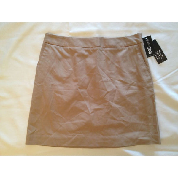 "INC International Concepts 16"" A-line Stretch Skirt Khaki Size 4 - Red Tag Central"