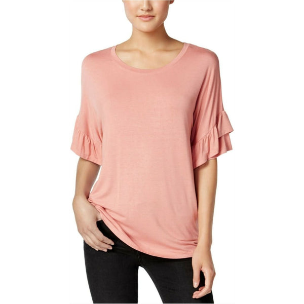 Jamie & Layla Women's Ruffled Sleeve Basic T-Shirt XL Desertsand - Red Tag Central