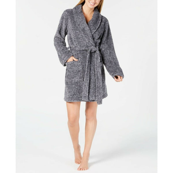 Jenni by Jennifer Moore Embroidered Short Wrap Robe 100031292 Black Large - Red Tag Central