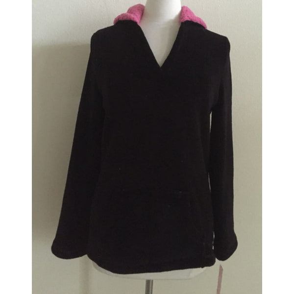 Jenni by Jennifer Moore Long Sleeve Hooded Sleep Top 441103 Deep Black XS - Red Tag Central