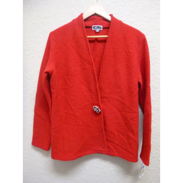 JM Collection Petite L/S Snap Front Wool Sweater 90567 Red Amore PM - Red Tag Central