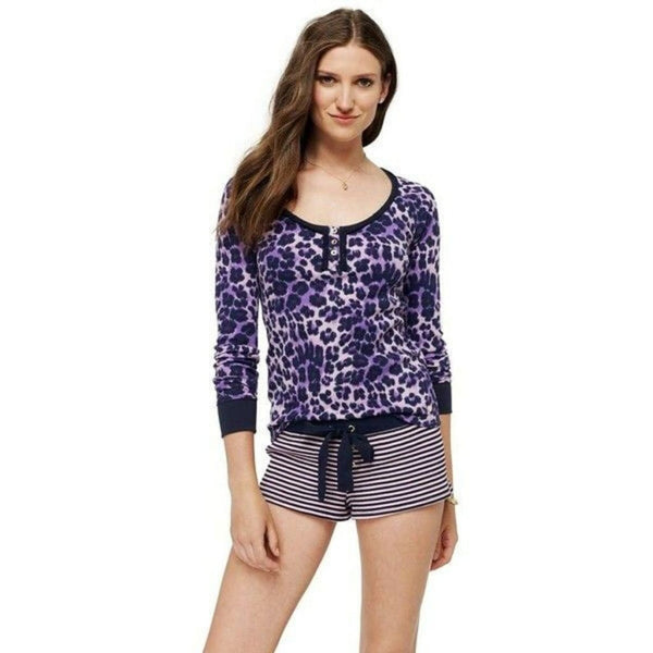Juicy Couture Cheeky Cheetah Print Thermal Henley 9JMS1691 Dalia Mauve Large - Sleepwear & Robes
