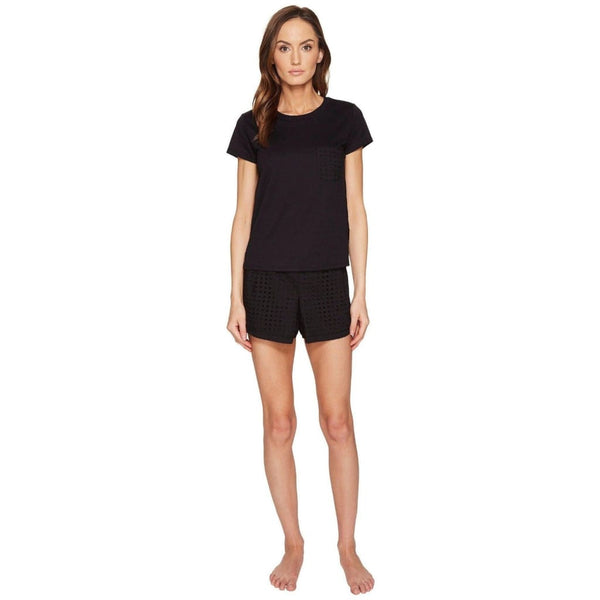 Kate Spade New York Eyelet Top and Skort Knit Pajama Set 5011322 Black S M L - Red Tag Central