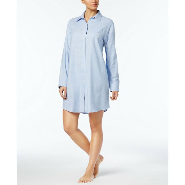 Lauren Ralph Lauren Fashion Woven Sleepshirt 8131418 Blue Plaid XS - Red Tag Central