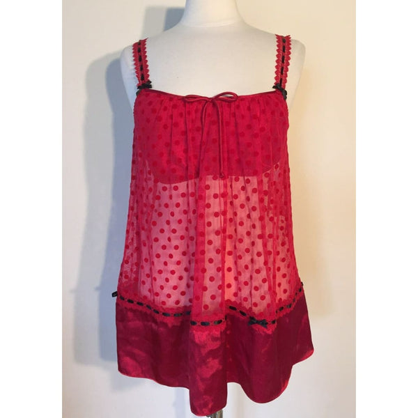 Linea Donatella ENTICE ME CHEMISE THONG SET RED EME080 Small Medium - S - Seasonal Overstock