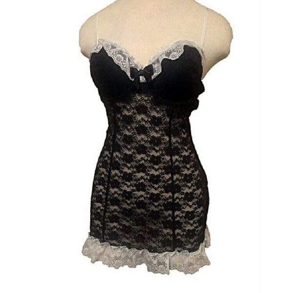 Linea Donatella Stretch Lace Molded Cup Babydoll ITB083 Black Small - Sleepwear & Robes